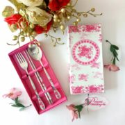 pink complete cutlery set